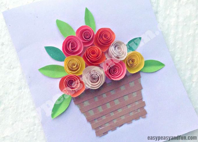DIY Rolled Paper Roses Card | Easy Peasy and Fun | Spring Crafts