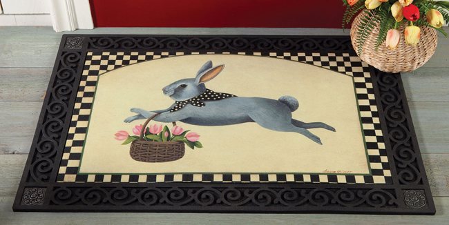 Flower Basket Bunny Doormat | Dianna Swartz | USA | Sturbridge Yankee Workshop