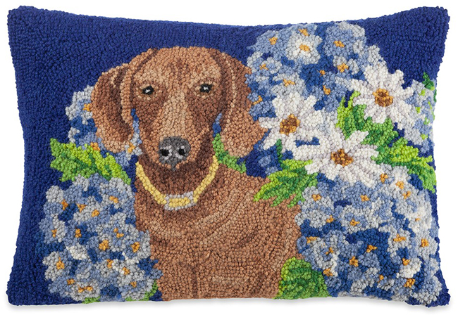 Flower Garden Dachshund Pillow | Mary Lake Thompson | Sturbridge Yankee Workshop