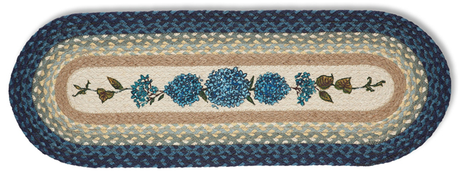 Blue Hydrangea Jute Accent Rug | Phyllis Stevens | Sturbridge Yankee Workshop