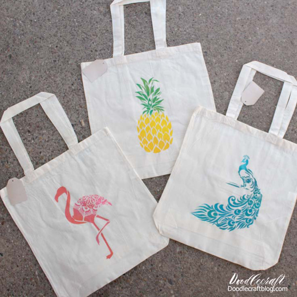 Stenciled Tote Bags from Doodlecraft Blog