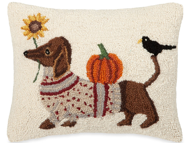 Autumn Dachshund Pillow | Artist Dianna Swartz | Sturbridge Yankee Workshop