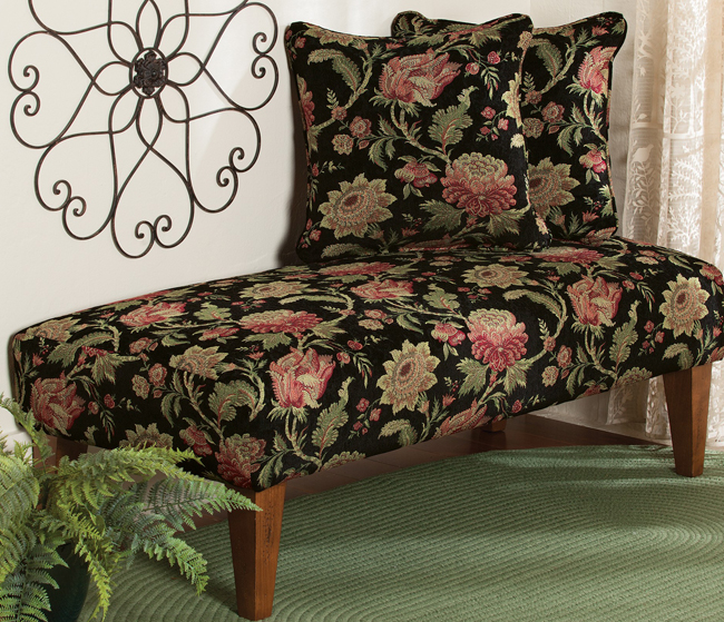 Black Floral Stafford Upholstered Bench | USA | Sturbridge Yankee Workshop