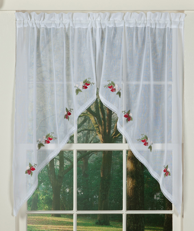 Strawberry Embroidered Sheer Swag Curtain | Sturbridge Yankee Workshop