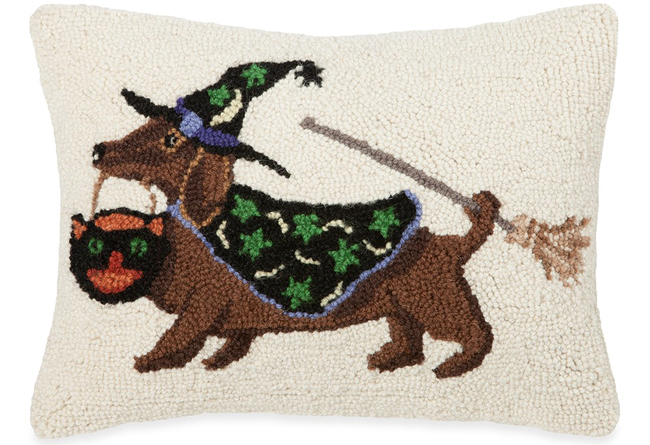 Trick-or-Treat Dachshund Pillow | Artist Dianna Swartz | Sturbridge Yankee Workshop