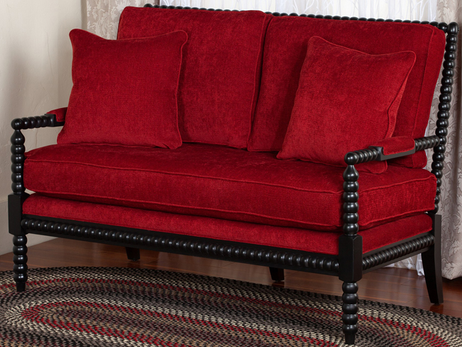 Myra Upholstered Bobbin Settee | USA | Sturbridge Yankee Workshop