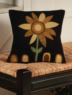 English Appliqued Sunflower Pillow | Sturbridge Yankee Workshop