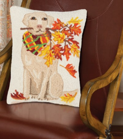 Lab With Leaves Pillow | Mary Lake Thompson | Sturbridge Yankee Workshop