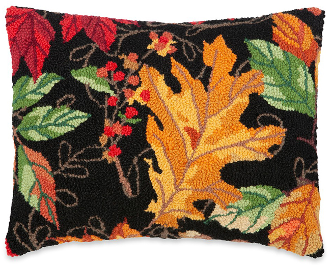 Autumn Symphony Hooked Wool Pillow | Artist Sally Eckman Roberts | Sturbridge Yankee Workshop