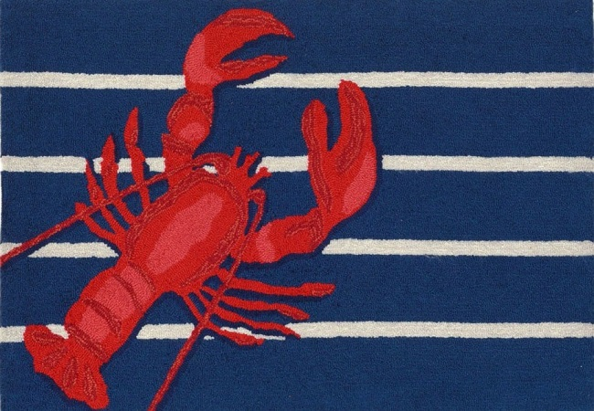 Lobster on Stripes Accent Rug | Liora Manne | Sturbridge Yankee Workshop