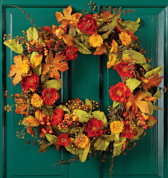 Fall Poppies Wreath | Sturbridge Yankee Workshop