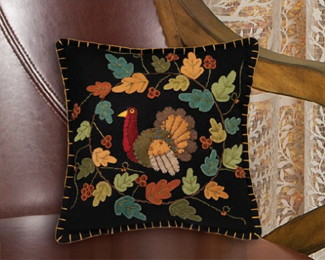 Turkey and Leaves Mini Pillow | Artist Bethany Lowe | Sturbridge Yankee Workshop
