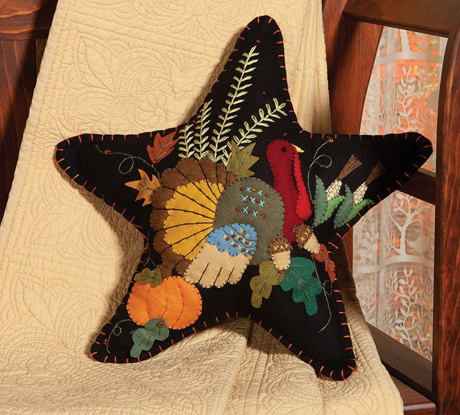 Turkey Star Felt Pillow