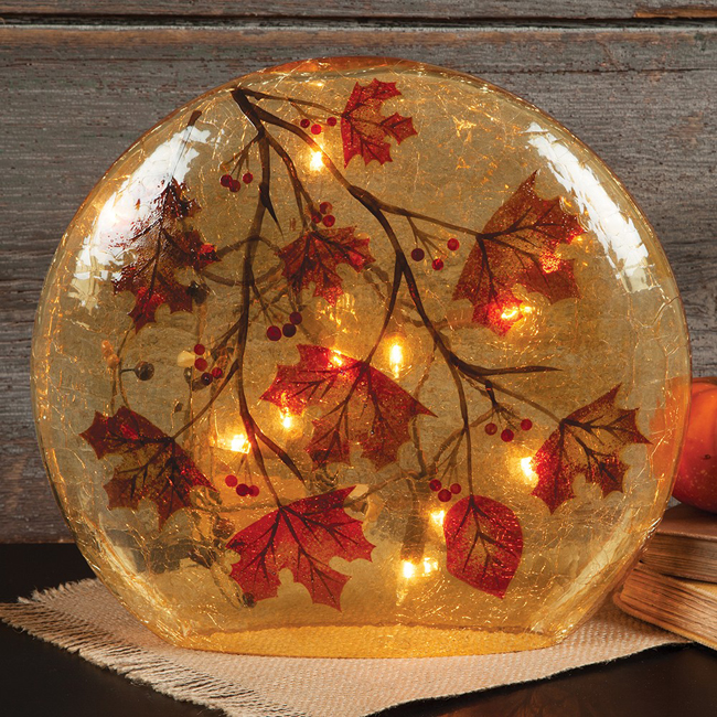 Autumn Leaves Glass Accent Lamp