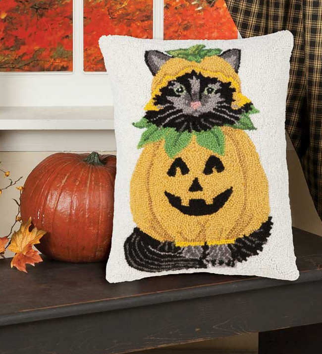 Black Cat Jack-O-Lantern Pillow | Artist Mary Lake Thompson