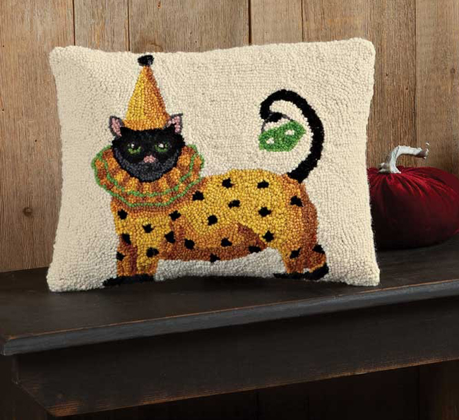 Clown Cat Halloween Pillow | Artist Dianna Swartz