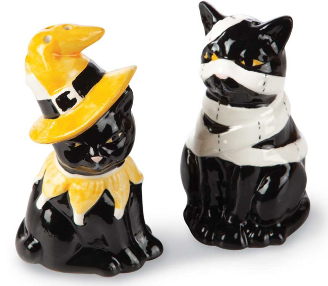 Halloween Cat Salt & Pepper Shakers